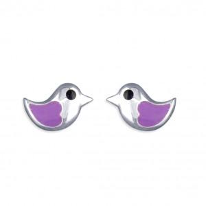 Sterling Silver Enamel Lilac Little Bird Stud Earrings