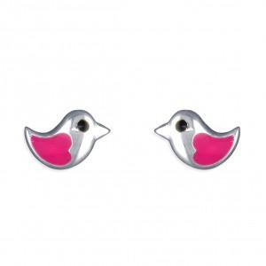 Sterling Silver Enamel Pink Little Bird Stud Earrings