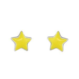G1019 Sterling Silver Enamel Yellow Star Stud Earrings