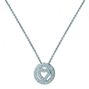 Sterling Silver Cubic Zirconia Open Heart and Circle Pend &