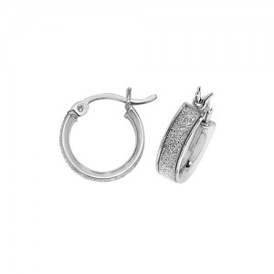 Sterling Silver 10mm Sparkle Hoop Earrings