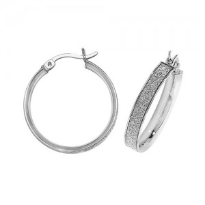 Sterling Silver 20mm Sparkle Hoop Earrings