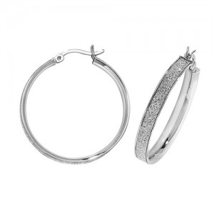 Sterling Silver 25mm Sparkle Hoop Earrings