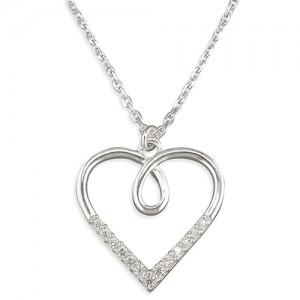 "Sterling Silver Cubic Zirconia Open Heart Pendant & 18"" Chain"