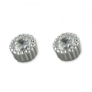 Sterling Silver Cubic Zirconia Millgrain Edge Stud Earrings