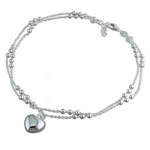 Sterling Silver Double Beaded Chain with Heart Charm Anklet
