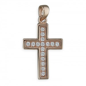 """Sterling Silver Rose Gold Plate Cubic Zirconia Cross Pendant & 18"""" Chain"""