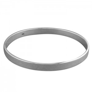 Sterling Silver Flat Plain Bangle