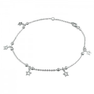 Sterling Silver Bead & Stars Anklet
