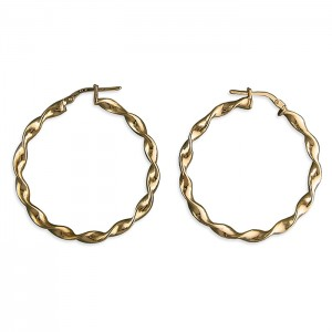 Sterling Silver Rose Gold Plated 36mm Twisted Hoop Earrings