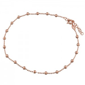 Sterling Silver Rose Plated Bead Chain with Beads Anklet