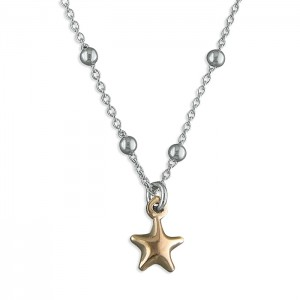 Sterling Silver Bead Chain with Rose Plated Star Charm
