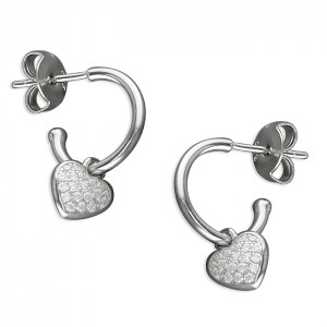 Sterling Silver Cubic Zirconia Heart Charm on Hoop Stud Earrings
