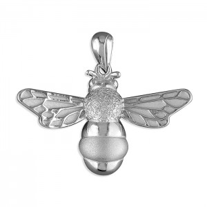 "Sterling Silver Bumble Bee Pendant & 18"" Curb Chain"