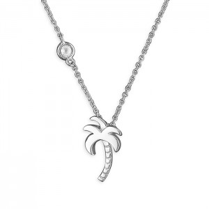 Sterling Silver Cubic Zirconia Palm Tree Necklace