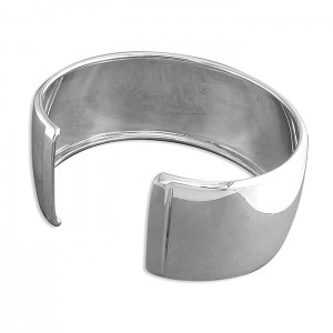 Sterling Silver 28mm Wide Cuff Bangle - h2737