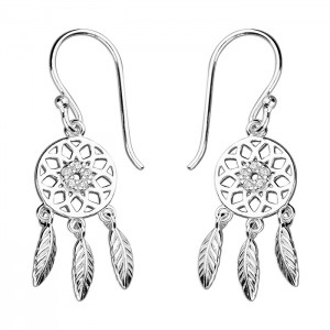 Sterling Silver Cubic Zirconia Dream Catcher Hook Drop Earrings