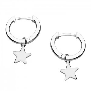 Sterling Silver Small Huggie Hoop with Star Charm Earrings