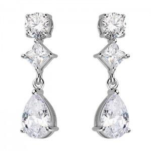 Sterling Silver Cubic Zirconia Round Princess Pear Drop Earrings