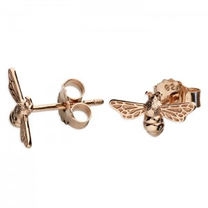Sterling Silver Rose Gold Plated Bumble Bee Stud Earrings