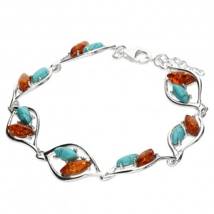 Sterling Silver Cognac Amber & Reconstituted Turquoise Statement Bracelet