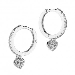 Sterling Silver Cubic Zirconia Huggie Hoop with Heart Earrings