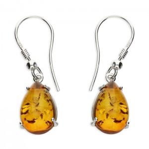 Sterling Silver Teardrop Amber Hook Drop Earrings