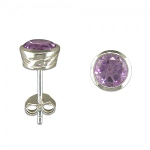 Sterling Silver Amethyst Stud Earrings