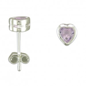 Sterling Silver Amethyst Heart Stud Earrings