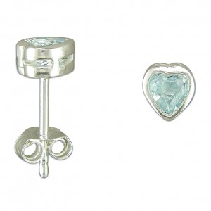 Sterling Silver Blue Topaz Heart Stud Earrings