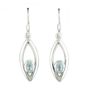 Sterling Silver Teardrop Blue Topaz Drop Earrings