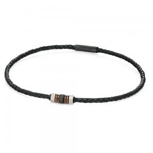 Fred Bennett Men's Stainless Steel & Black Woven Leather Necklace