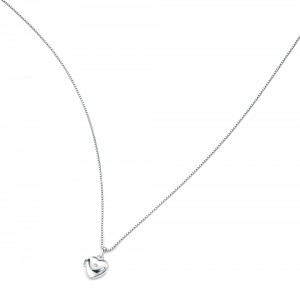 D for Diamond Silver Medium Heart Locket