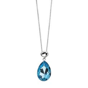 "Sterling Silver Blue Swarovski Crystal Teardrop Pendant & 18"" Chain"