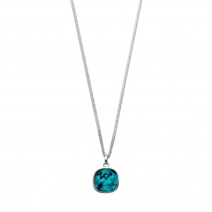 "Sterling Silver Blue Swarovski Crystal Pendant & 18"" Chain"