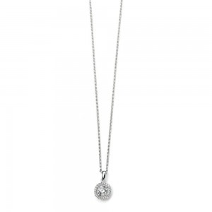 "Sterling Silver Pave Halo Cubic Zirconia Pendant & 18"" Chain"