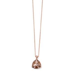 """Sterling Silver Rose Plated Pink Swarovski Crystal Pendant & 18"""" Chain"""