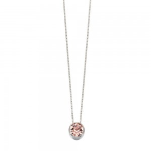 "Sterling Silver Pink Round Swarovski Crystal Pendant & 18"" Chain"