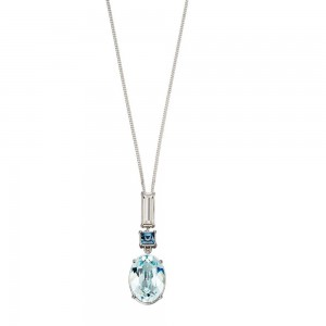 "Sterling Silver Blue/White Swarovski Crystal Drop Pendant & 18"" Chain"