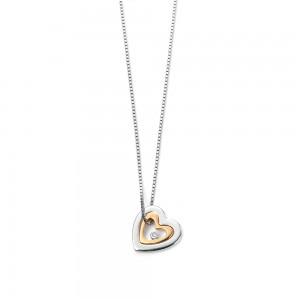 D for Diamond Silver & Gold Plated Mother & Daughter Pendant