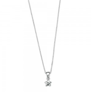D for Diamond Silver Star Pendant