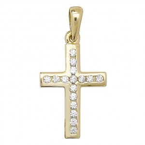 9ct Yellow Gold Cubic Zirconia Small Cross Pendant