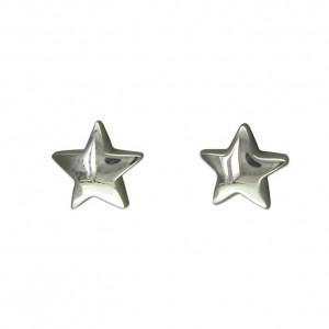 Sterling Silver Plain Star Stud Earrings