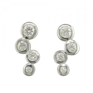 Sterling Silver Cubic Zirconia Abstract Studs