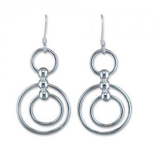 Sterling Silver Multi-Ring Hook Drop Earrings