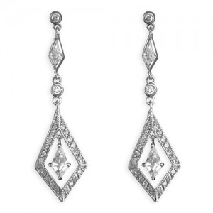 Sterling Silver Cubic Zirconia Open Kite-Shaped Drop Earrings