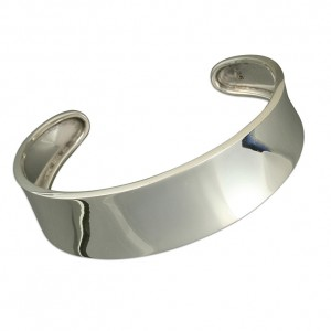 Sterling Silver Wide Plain Dished Torque Bangle