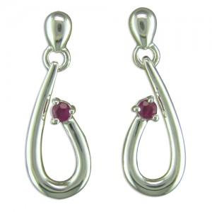 Sterling Silver Ruby Loop Drop Earrings