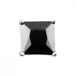 Sterling Silver Men's 8mm Square Cubic Zirconia Single Stud Earring