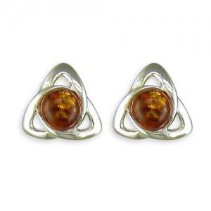 Sterling Silver Celtic Amber Stud Earrings